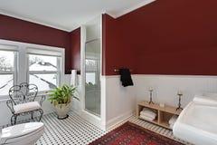 стены красного цвета ванной комнаты стоковые фото
