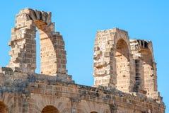 Стены старого Colosseum в Тунисе Стоковое Изображение