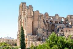 Стены Colosseum в Тунисе Стоковые Фотографии RF