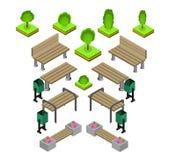 стенд Внешний комплект значка скамеек в парке иллюстрация штока