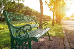 Стенд в зеленых парке и солнечном свете Стоковые Изображения RF