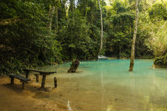 Стенд около водопада Kuang Si Стоковые Изображения