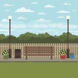 Стенд парка в осени иллюстрация штока