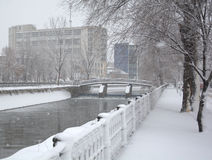 стенд покрыл ландшафт около зимы валов снежка урбанской Стоковая Фотография