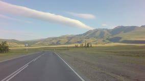 Степь Kurai и северный гребень Chuya на рассвете видеоматериал