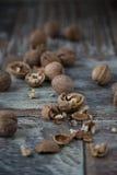 Стержени грецкого ореха и все грецкие орехи Стоковая Фотография