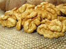 Стержени грецкого ореха на мешковине Слезли и unpeeled чокнутый крупный план Стоковые Изображения RF