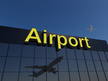 стержень здания авиапорта стеклянный самомоднейший отражательный Стоковое фото RF