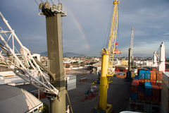 Стержень контейнера в Itajai, Бразилия. стоковая фотография rf