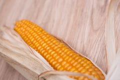 Стержень кукурузного початка на деревянной земле стоковое фото rf