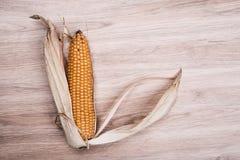 Стержень кукурузного початка на деревянной земле стоковые фото