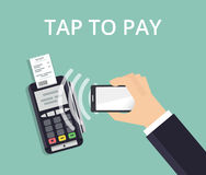 Стержень Pos подтверждает оплату от smartphone Передвижные оплата и концепция технологии NFC Плоская иллюстрация стиля Стоковое Изображение