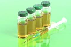 Стерильные медицинские пробирки с решением, ампулами, и шприцем лекарства на салатовой предпосылке Стоковые Изображения RF