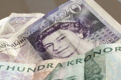 Стерлинговая и шведская валюта Стоковая Фотография