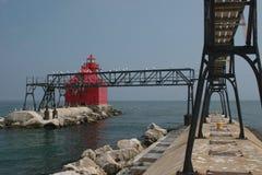 стерляжина пристани маяка залива стоковая фотография