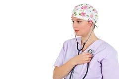 стетоскоп женщины себя доктора рассматривая стоковые фотографии rf