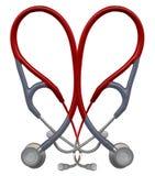 стетоскоп красного цвета сердца Стоковые Изображения