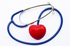 стетоскоп красного цвета сердца Стоковые Изображения RF