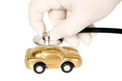 Стетоскоп медицины с золотистым деньг-box Стоковое Изображение RF