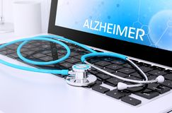 стетоскоп на клавиатуре компьтер-книжки при экран показывая alzheimer иллюстрация штока