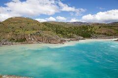Стечение реки хлебопека и реки Nef, Патагонии, Чили Стоковые Изображения RF