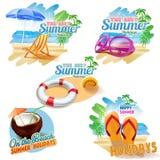 5 стикеров на лето иллюстрация вектора