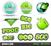 стикеры био зеленого цвета eco установленные иллюстрация штока