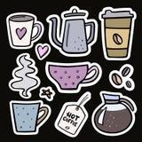 Стикеры большого комплекта кофе handdrawn Vector иллюстрация кофейной чашки, бака кофе Стоковые Изображения