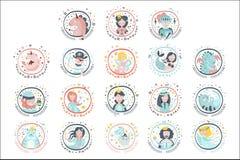Стикеры героев сказки Girly в круглых рамках иллюстрация штока