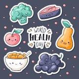 Стикеры дня здоровья мира пакуют Знак дня здоровья мира Здоровое собрание стикеров еды в стиле doodle: семги, muesli иллюстрация вектора