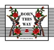 Стикеры летящей птицы и красных роз для вышивки или платья или футболки печати Стоковые Изображения