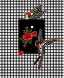 Стикеры летящей птицы и красных роз для элементов вышивки или печати Дизайн для карманн Стоковое Изображение RF