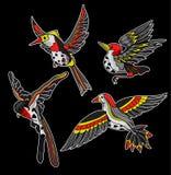 Стикеры летящих птиц для вышивки или печати также вектор иллюстрации притяжки corel Стоковая Фотография RF
