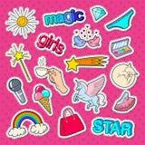 Стикеры, заплаты и значки стиля девочка-подростка с радугой, единорогом и мороженым иллюстрация вектора