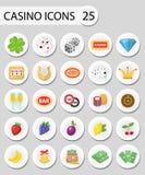 Стикеры значков казино, плоский стиль Играя в азартные игры комплект на белой предпосылке Покер, карточные игры, одн-вооруженный  иллюстрация вектора