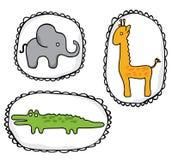 Стикеры диких животных, слон, жираф, крокодил Стоковое Фото