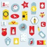 Стикеры и значки иллюстрации вектора установленные для рождества, Нового Года иконы элементов рождества шаржа календара пришестви иллюстрация штока