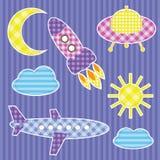 стикеры комплекта воздушных судн цветастые милые Стоковое Изображение