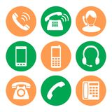 стикеры 3 комплекта телефона иконы значки в стиле плоского дизайна иллюстрация вектора