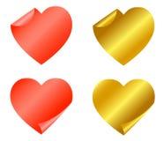 стикеры красного цвета золота установленные Бесплатная Иллюстрация