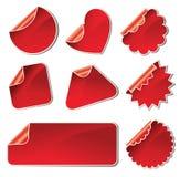 стикеры красного цвета установленные Стоковая Фотография RF