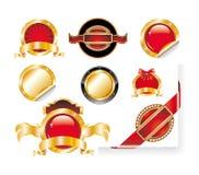 стикеры красного цвета ярлыка золота установленные Стоковое фото RF