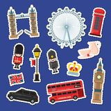 Стикеры Лондона шаржа вектора установили иллюстрацию Знамена привлекательностей Англии иллюстрация вектора