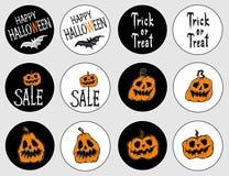 Стикеры на праздник хеллоуин иллюстрация вектора