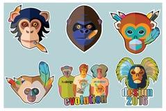 Стикеры обезьяны и дизайны стикера обезьяны Стоковые Изображения RF