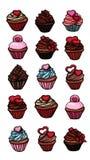 Стикеры пирожных установили различное очень вкусного бесплатная иллюстрация