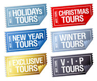 Стикеры путешествий праздников в форме билетов. Стоковая Фотография RF