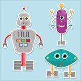 Стикеры роботов Иллюстрация вектора, изолированные элементы дизайна Стоковое Изображение RF
