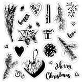 Стикеры рождества в винтажном стиле Стоковое Фото