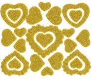 Стикеры сброса яркого блеска сердца для предпосылок или обоев Стоковое Изображение RF